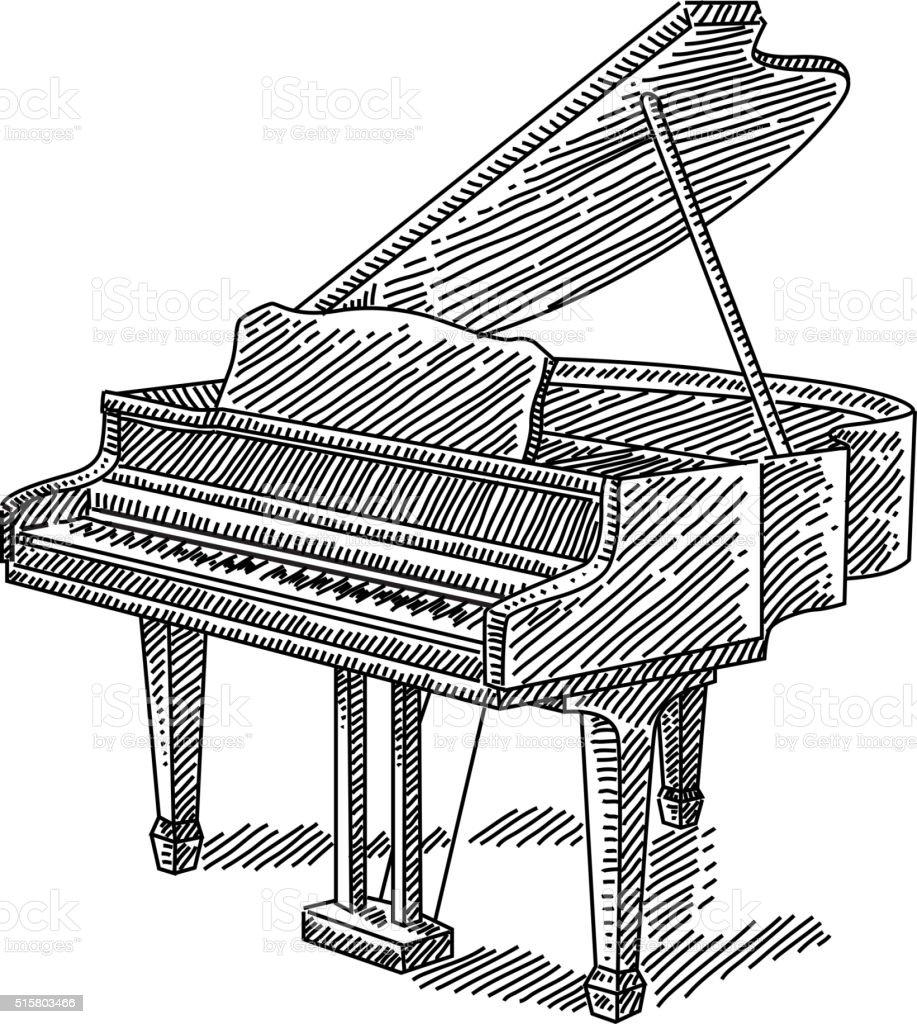 Piano Drawing vector art illustration