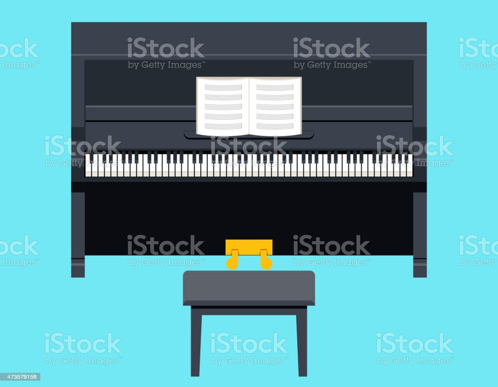 Piano Icon Concept Symbol Flat Design on Stylish Background Template vector art illustration