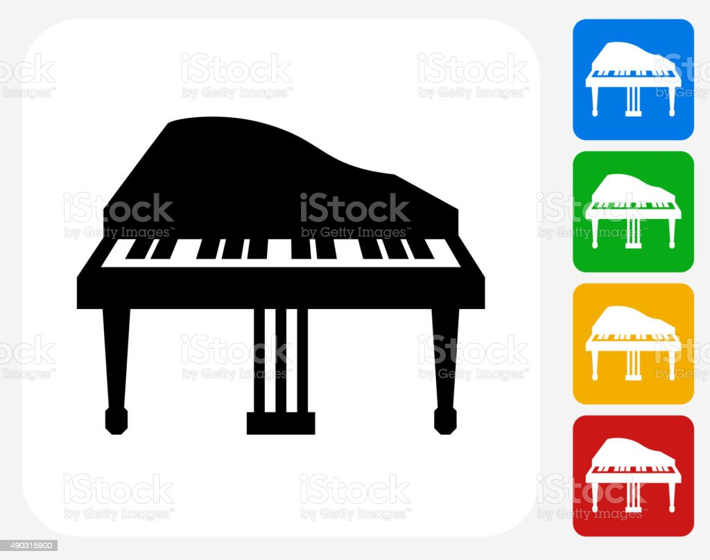 Piano Icon Flat Graphic Design vector art illustration