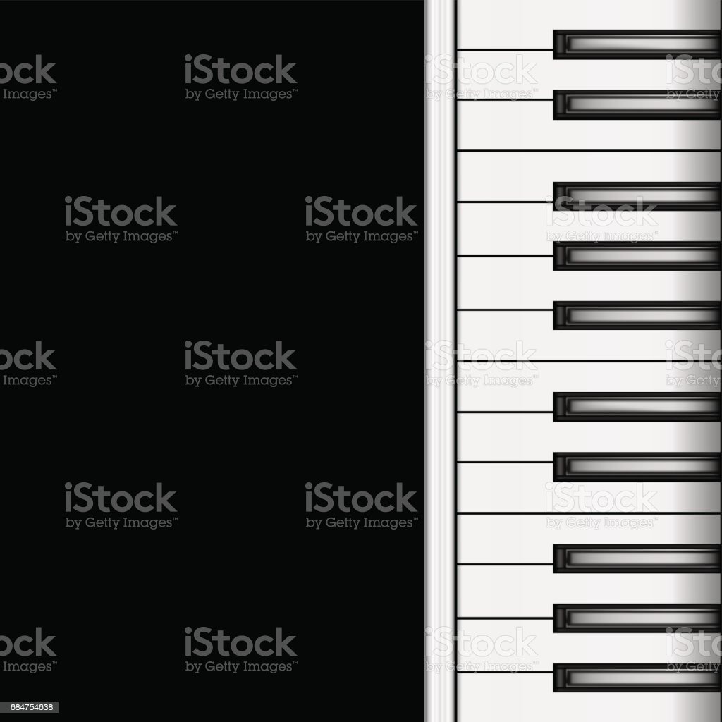 Piano Keyboard on a Dark Background. Vector vector art illustration