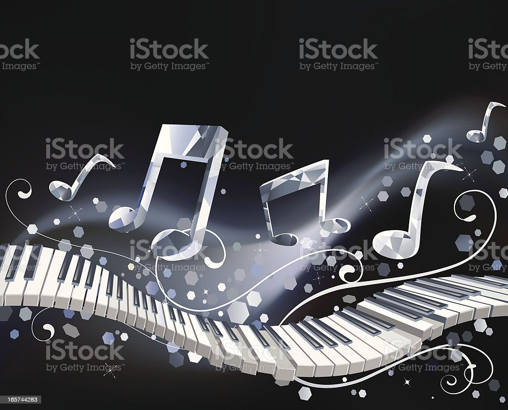 Piano keyboard with crystal music notes royalty-free stock vector art