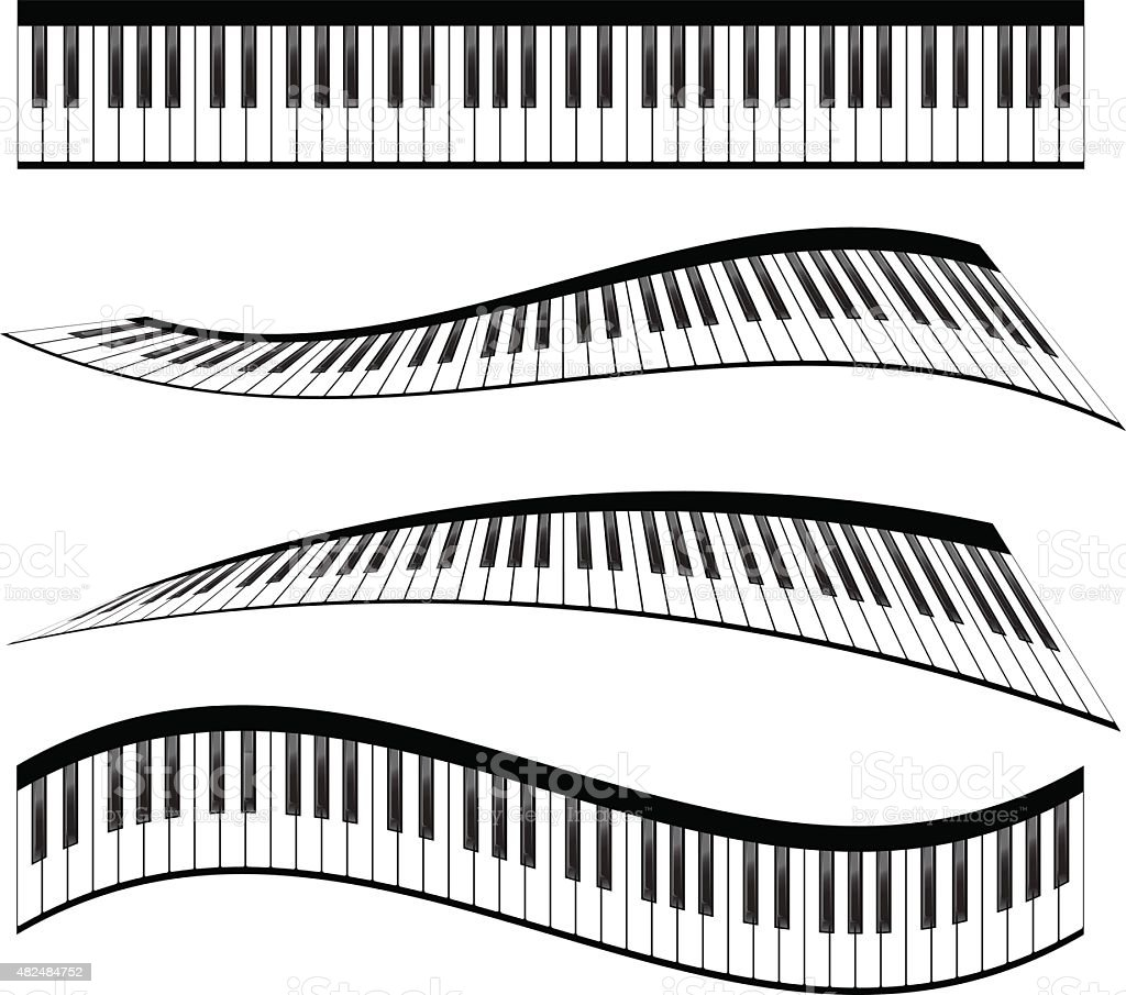 Piano keyboards vector art illustration
