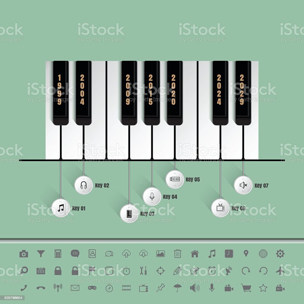 Piano keys timeline with set of icons vector art illustration