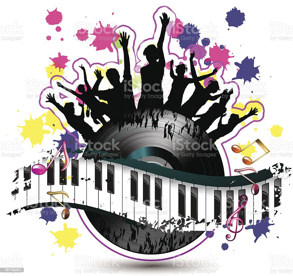 Piano keys with dancing silhouettes royalty-free stock vector art