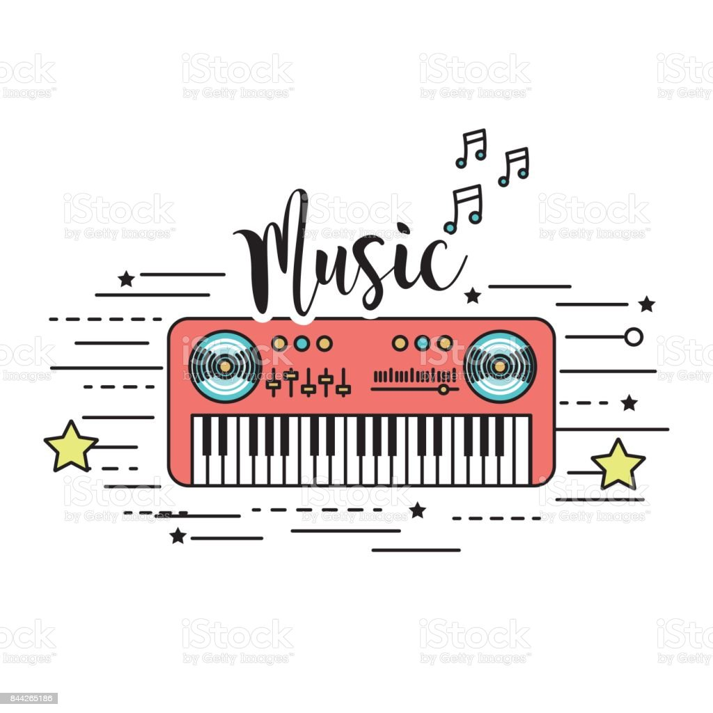 piano musical instrument to play music vector art illustration