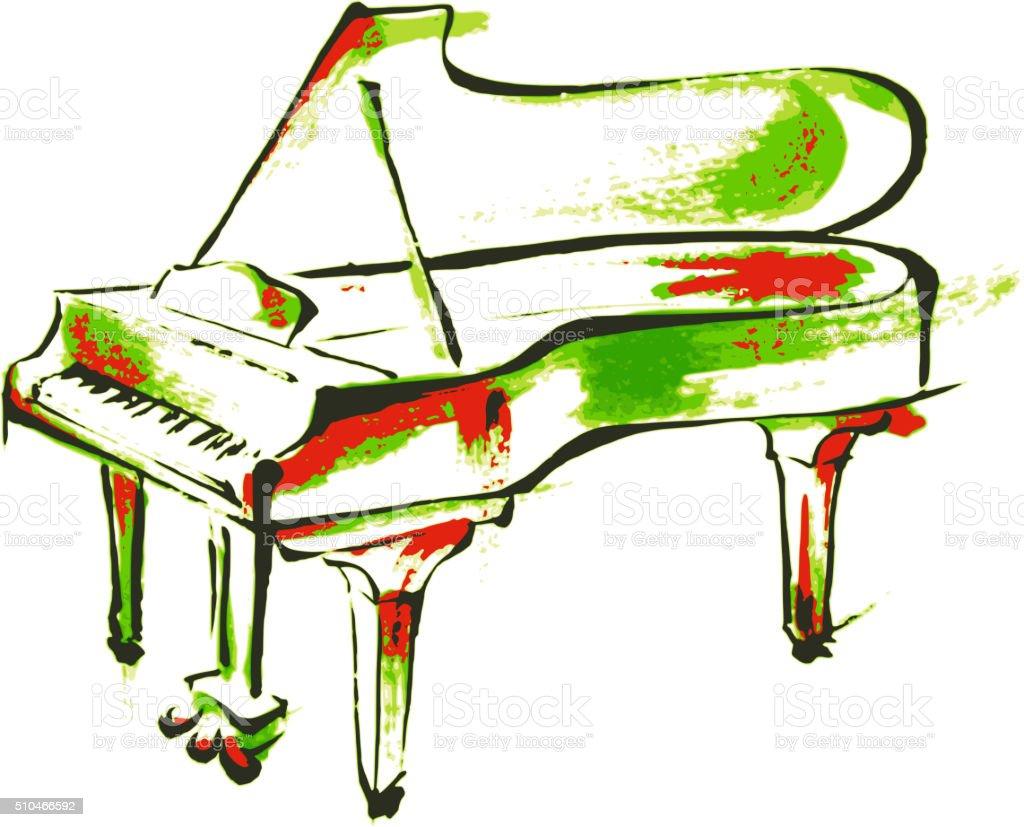 Piano painting vector art illustration