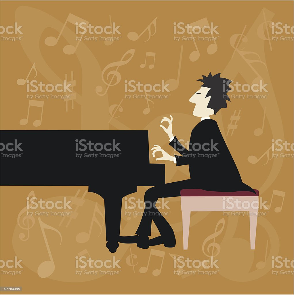 Piano Passion number one vector art illustration