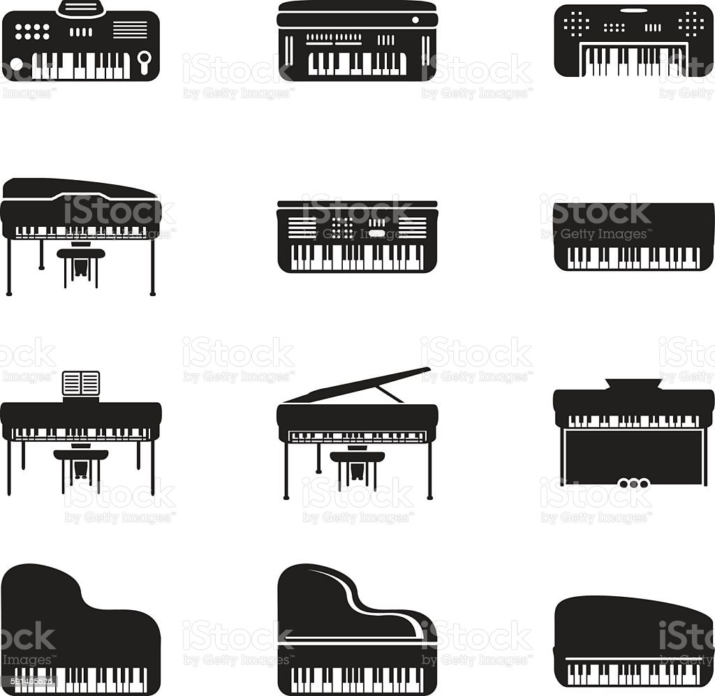 Piano set. Vector vector art illustration