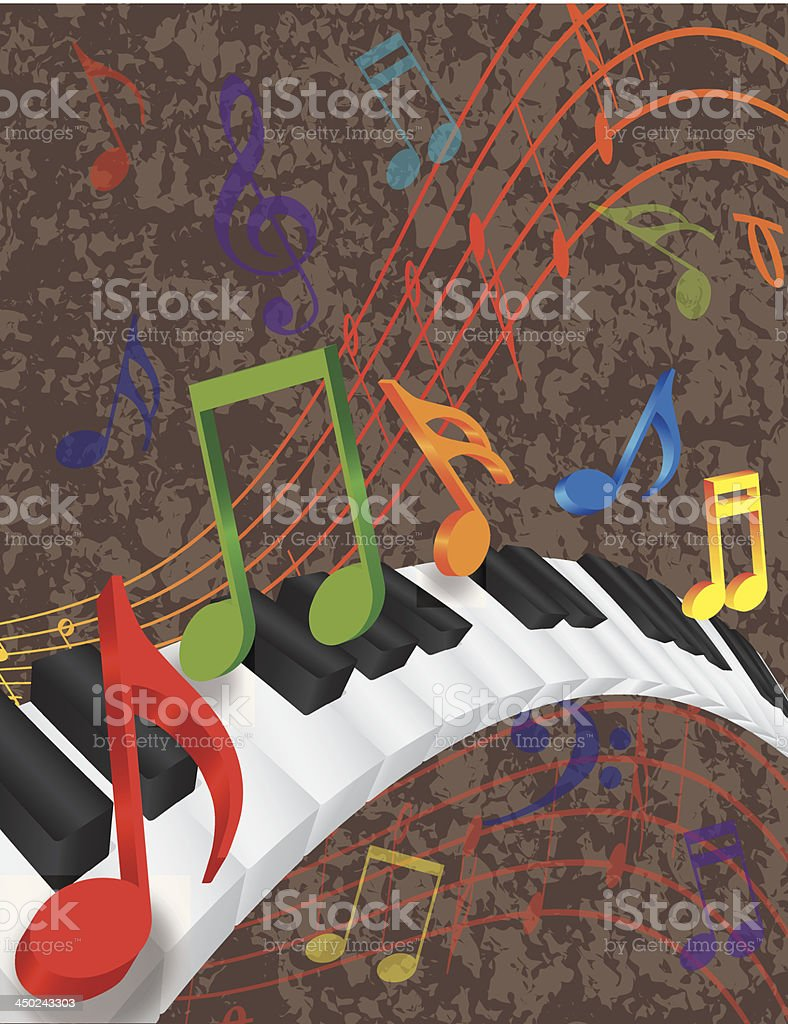 Piano Wavy Border with 3D Keys and Colorful Music Note vector art illustration