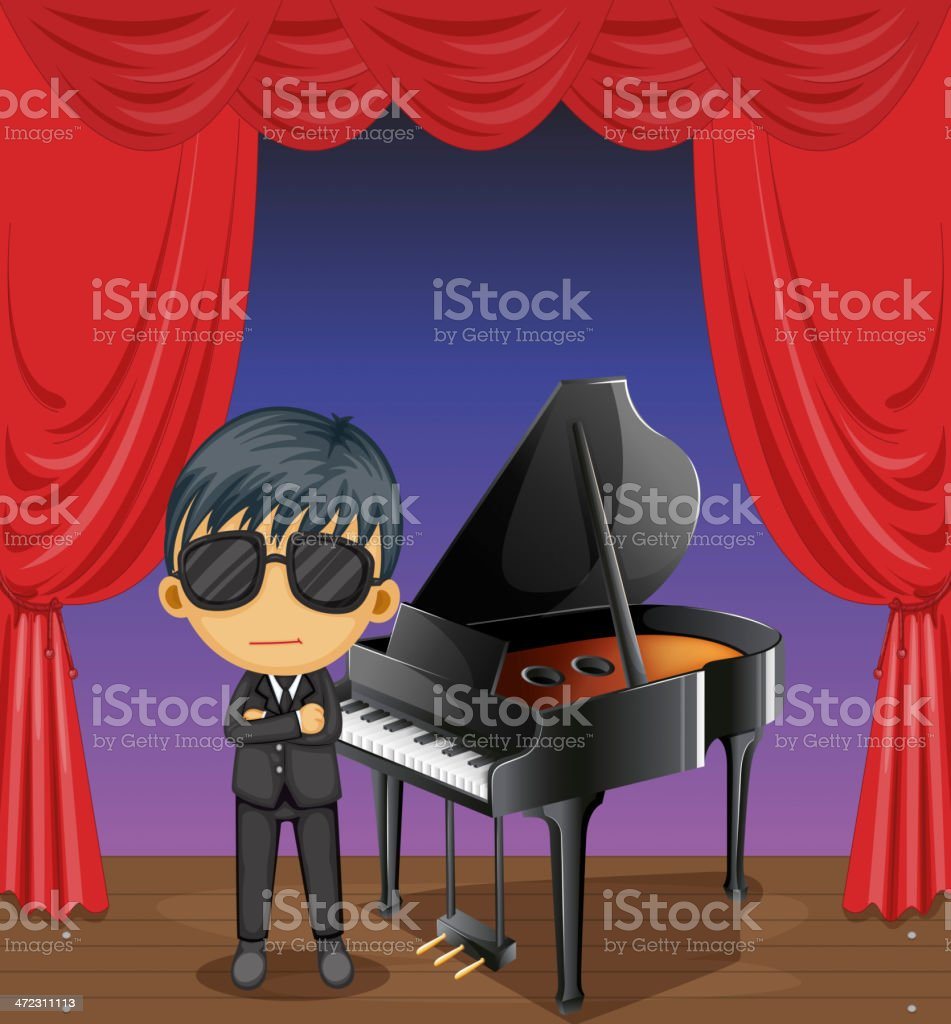 Piano with a pianist royalty-free stock vector art