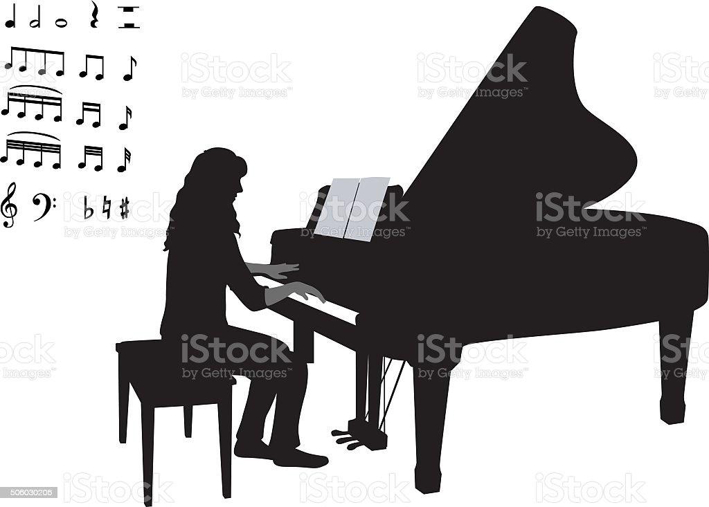 piano-deja2 vector art illustration