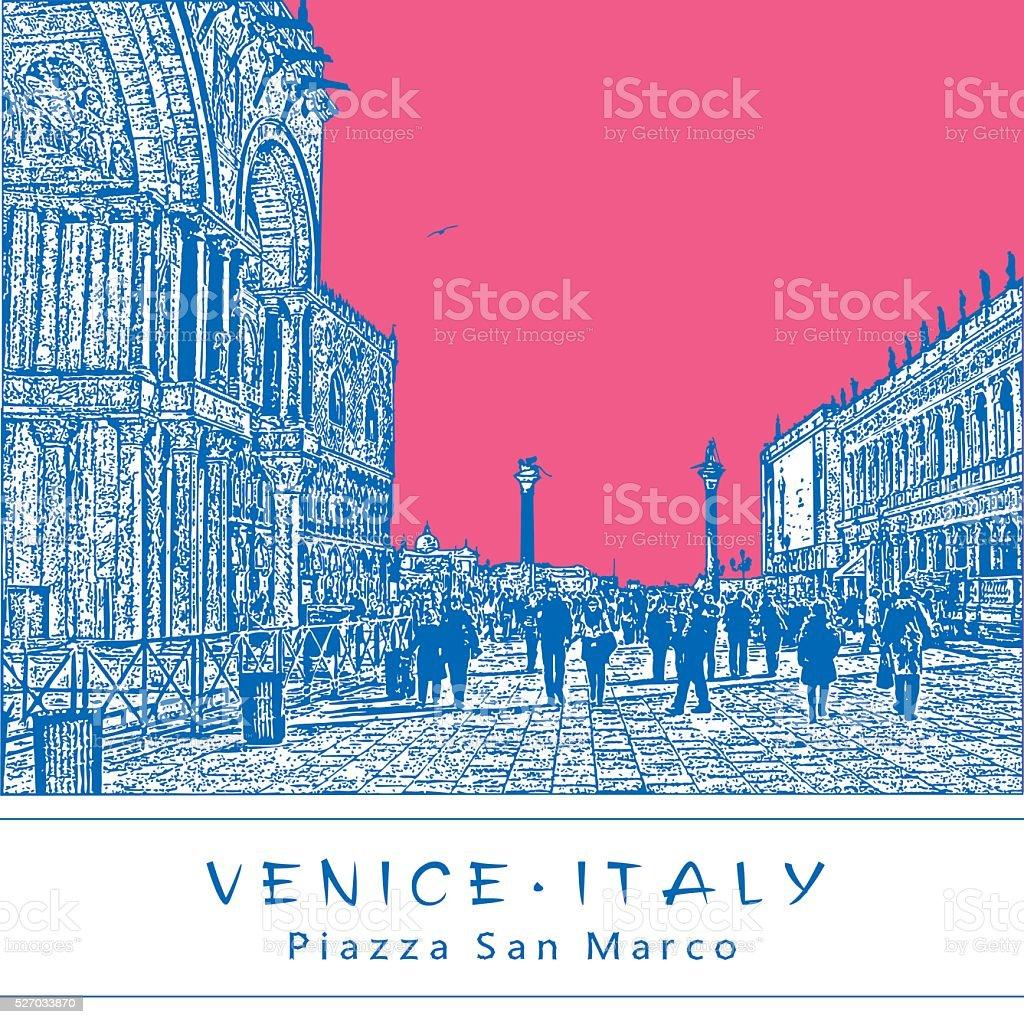 Piazza San Marco in Venice, Italy. vector art illustration