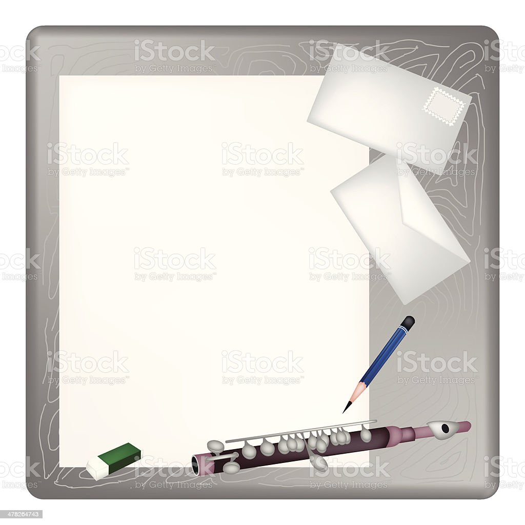 Piccolo Lying on  Blank Page  Envelope royalty-free stock vector art