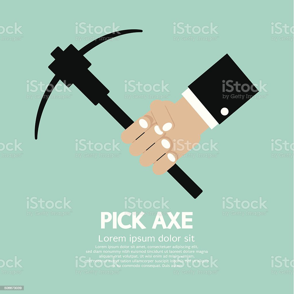 Pick Axe In Hand Vector Illustration royalty-free stock vector art