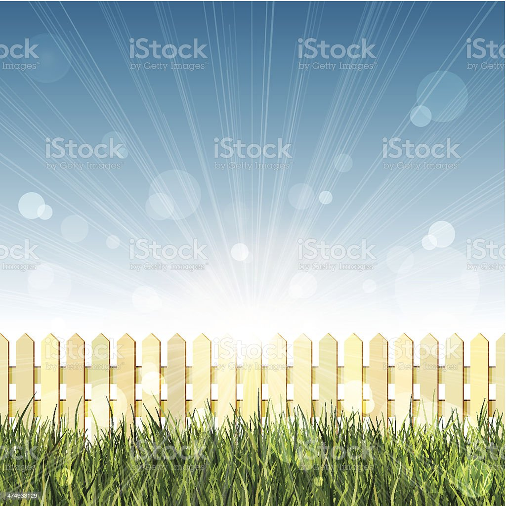 Picket fence, long grass and blue sky with lens flare vector art illustration