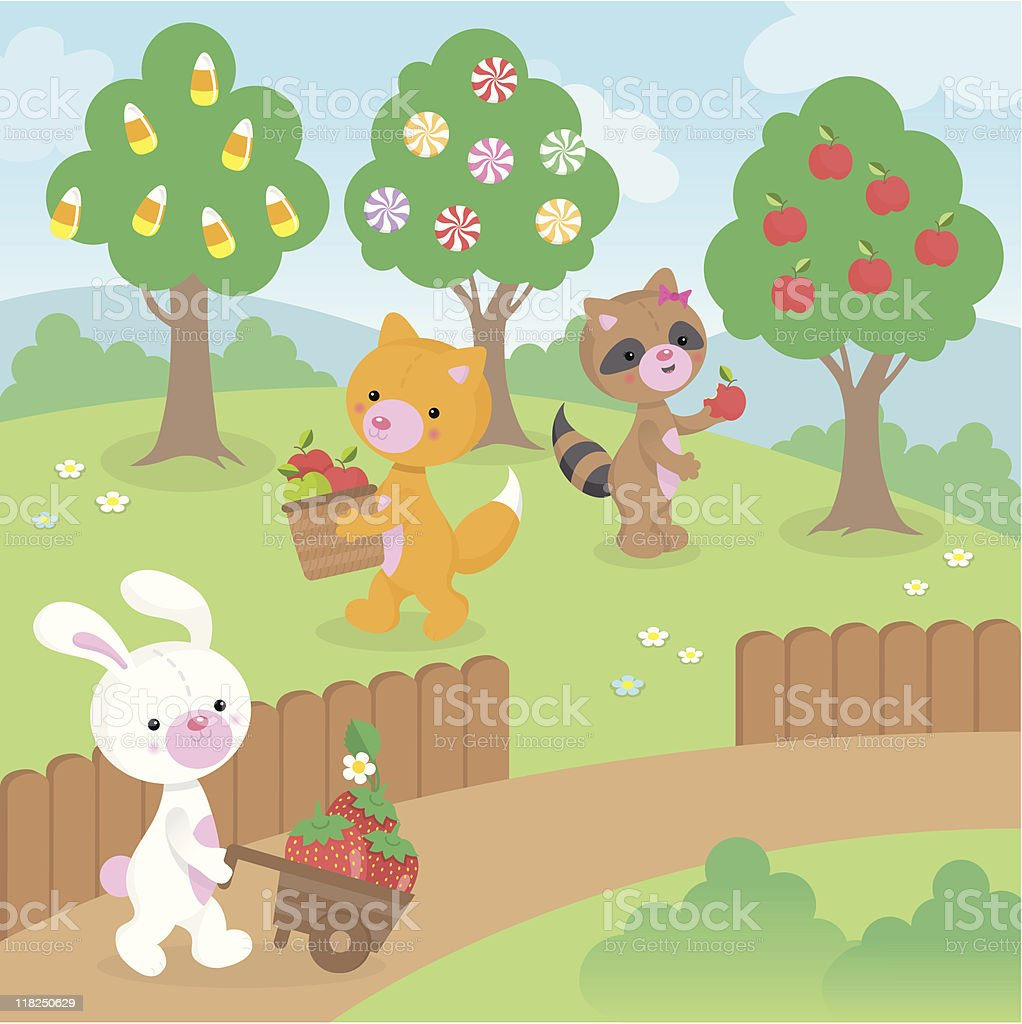 Picking fruit and candy cute kawaii animals royalty-free stock vector art