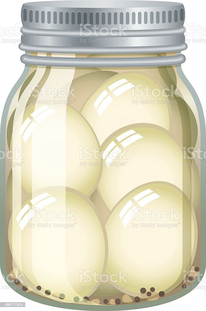 Pickled eggs in glass jar isolated on white vector art illustration