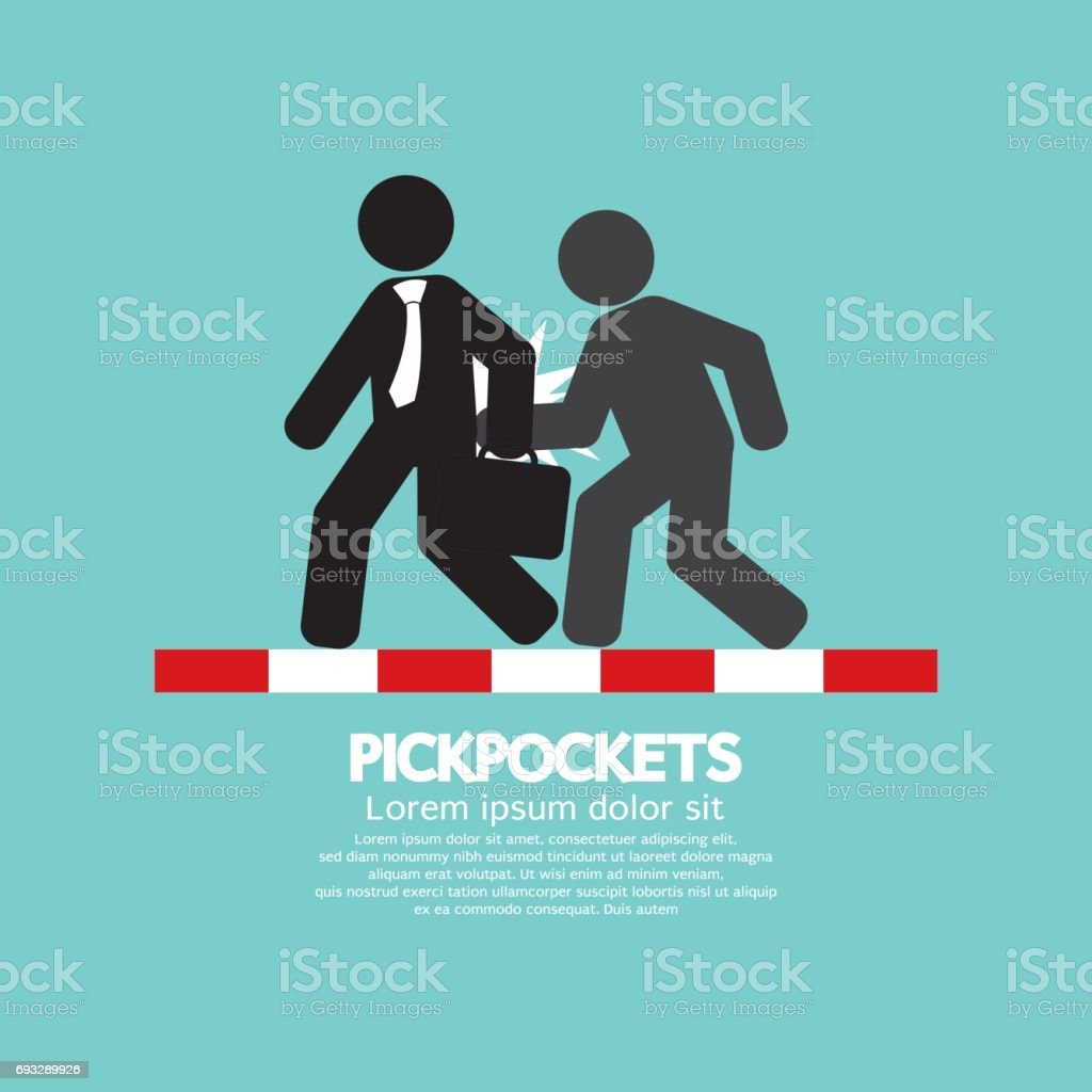 Pickpocketer Steal Things From Bag Of Businessman On Street Black Symbol Vector Illustration vector art illustration