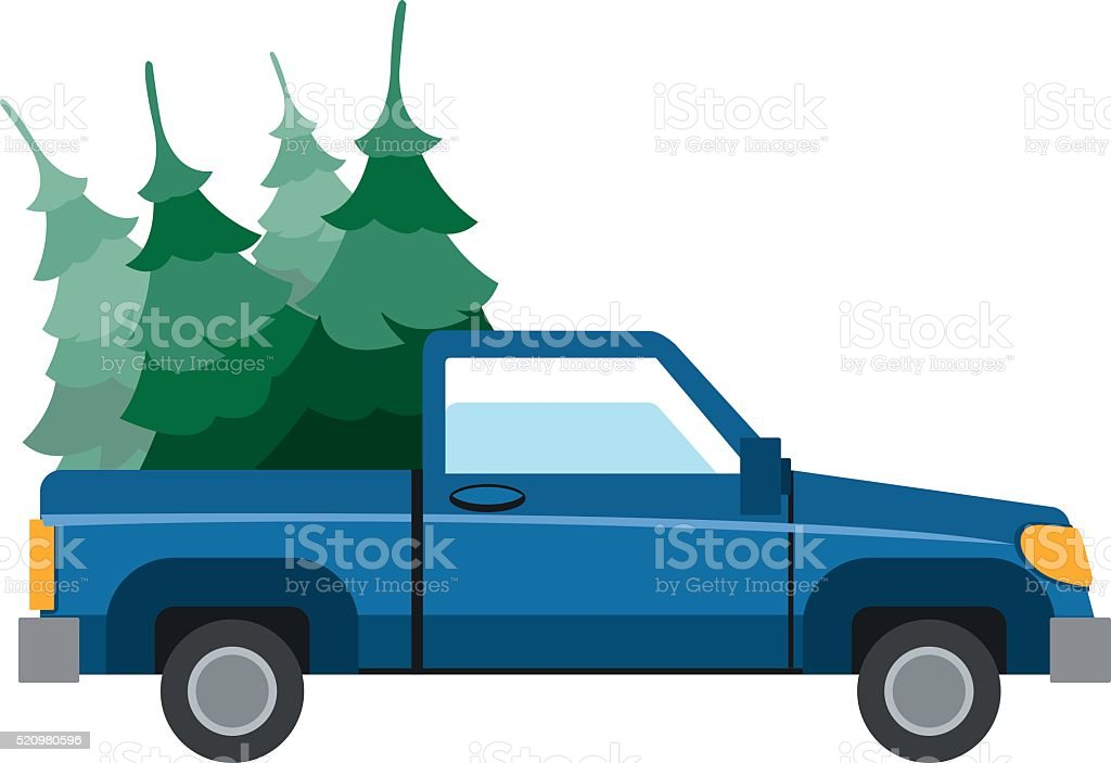 Pick-up driven in the trunk of a Christmas tree. vector art illustration