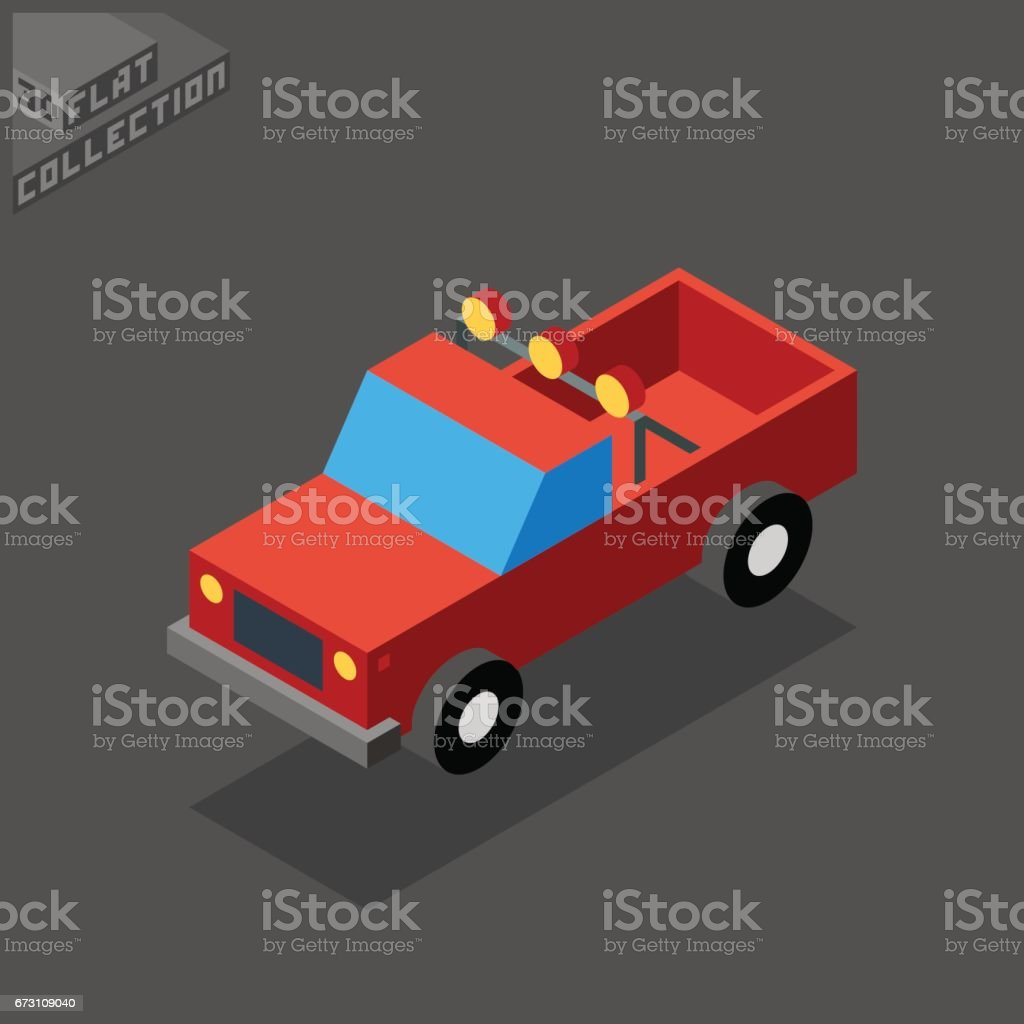 SUV Pickup Icon. 3D Isometric Low Poly Flat Design. vector art illustration