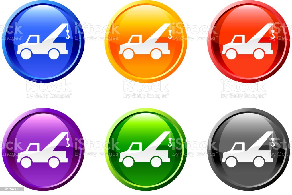 pickup truck vector icon set on round shiny buttons royalty-free stock vector art