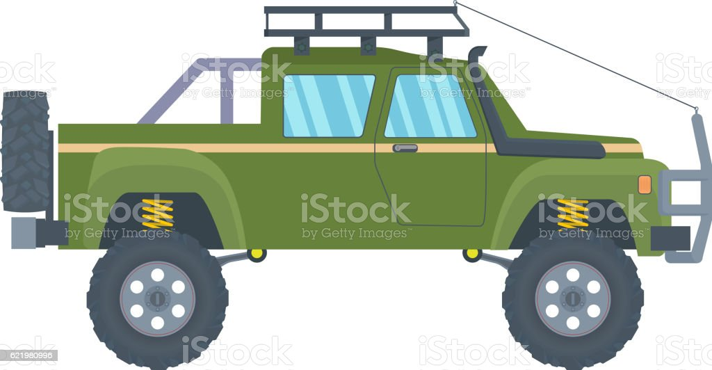Pickup truck with big wheels isolated on white background. Vector vector art illustration