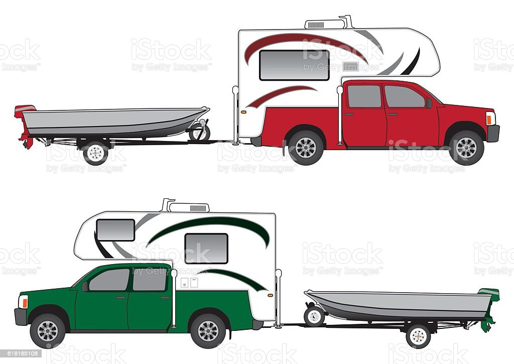 Pickup With Camper Pulling Boat vector art illustration