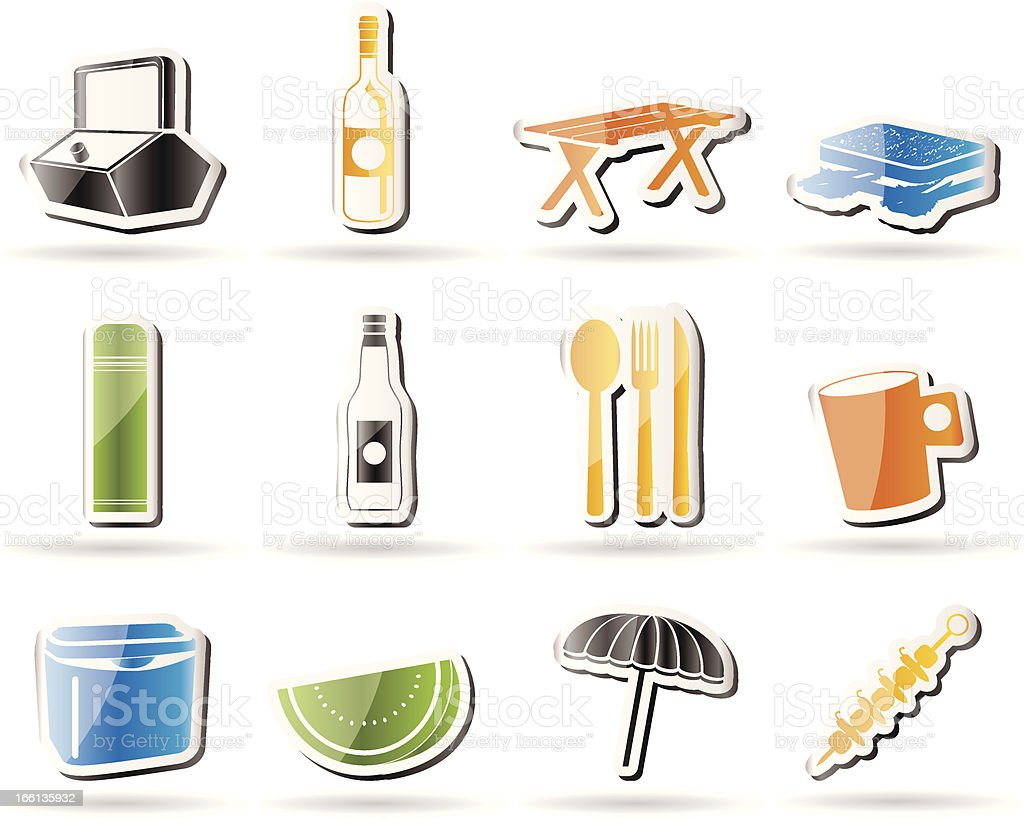 Picnic and holiday icons vector art illustration