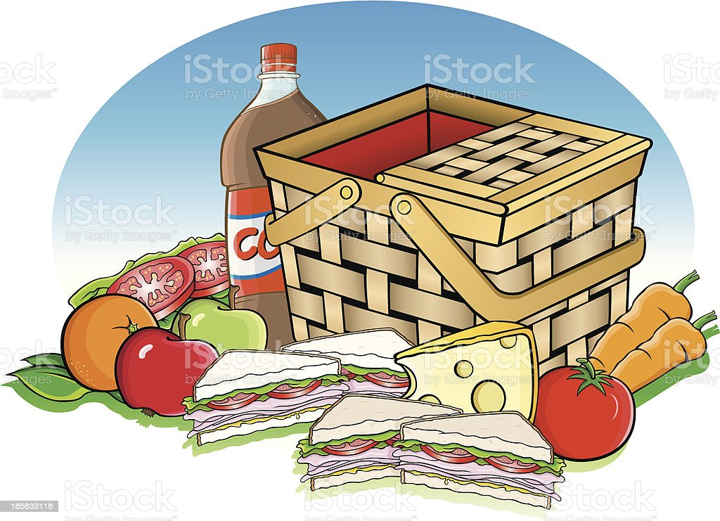 Picnic basket and food vector art illustration