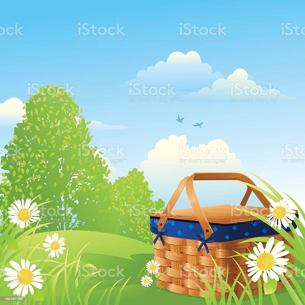 Picnic Basket on a Summer Day vector art illustration