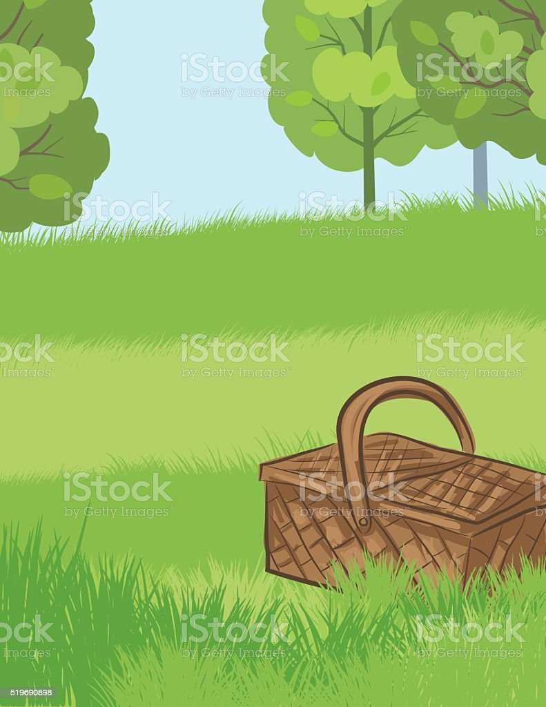 Picnic Basket Sitting In The Grass vector art illustration