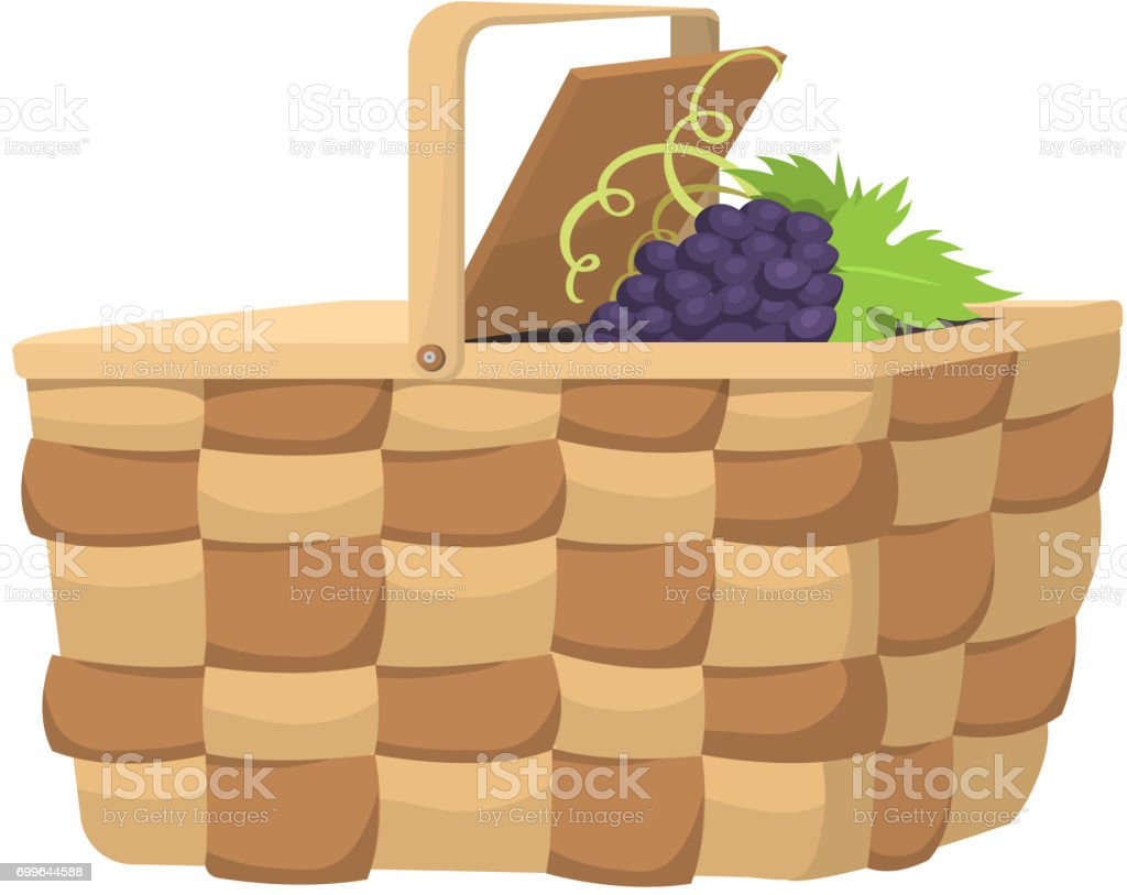 Picnic basket with food relaxation vacation container lunch summer meal vector illustration vector art illustration