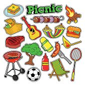 Picnic BBQ Doodle Stickers, Badges, Patches