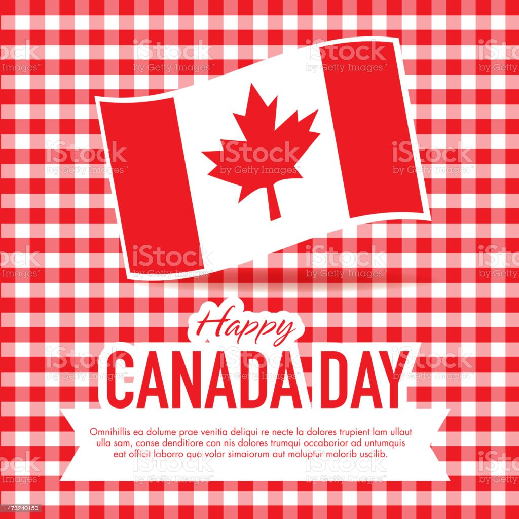Picnic Happy Canada Day Celebration greeting card design template vector art illustration
