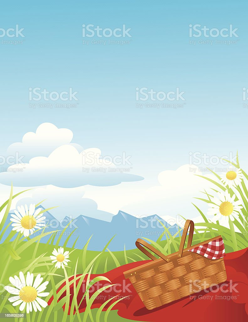 Picnic in the mountains royalty-free stock vector art