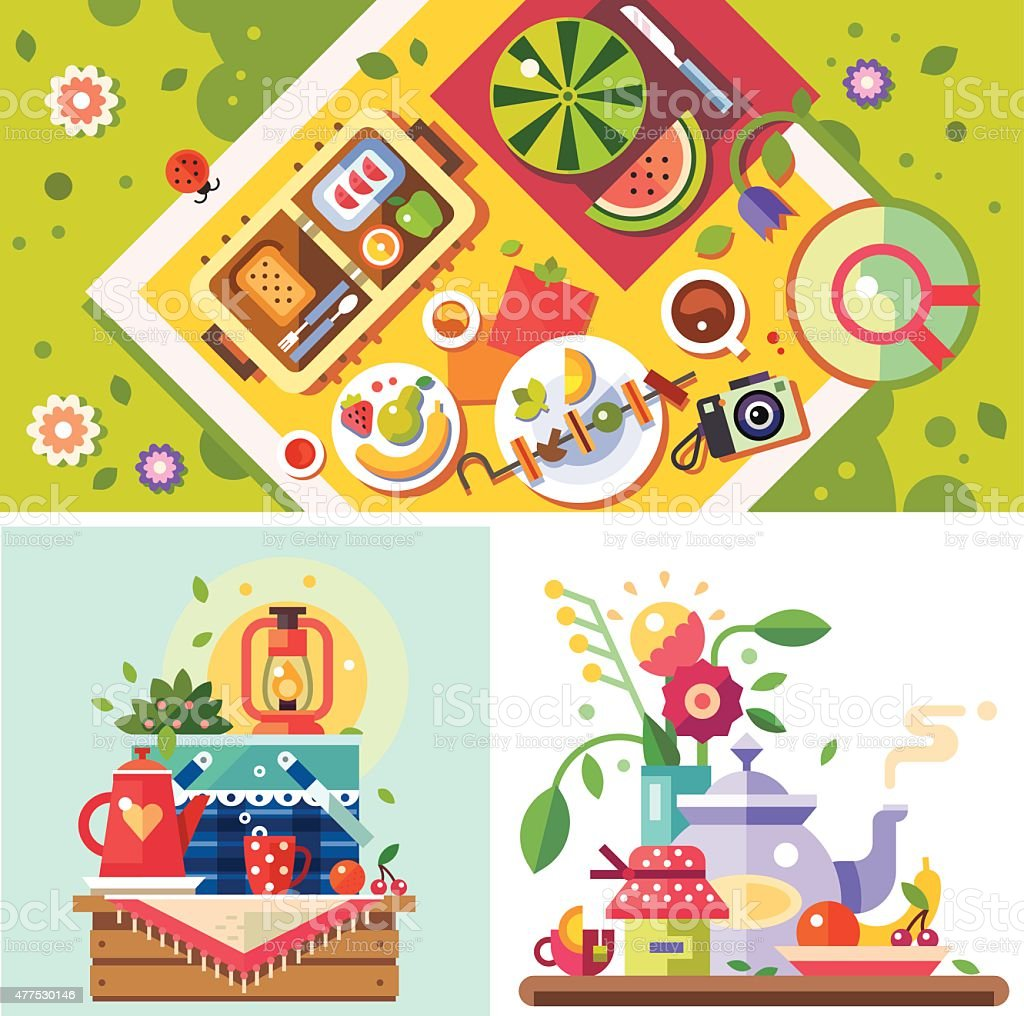 Picnic in the park. Sunny day in the city vector art illustration