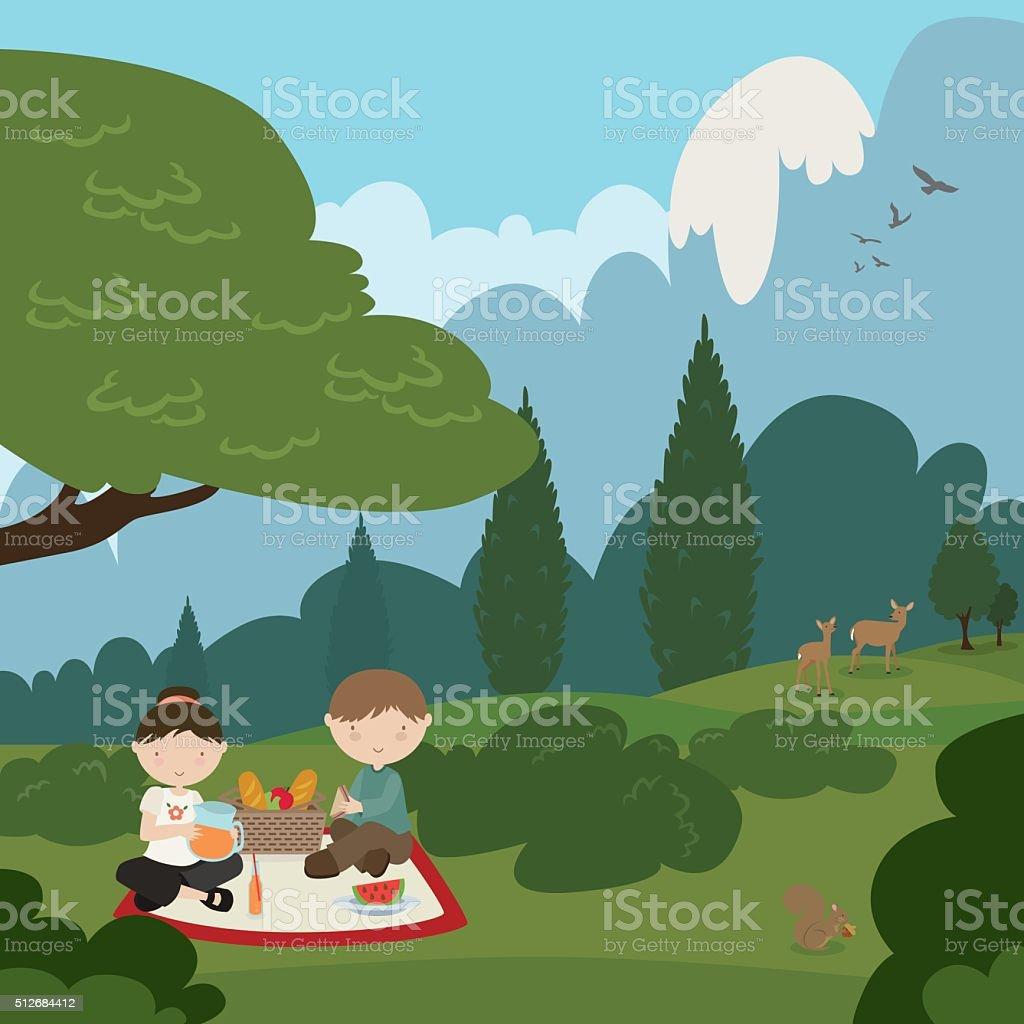 Picnic In the Park vector art illustration