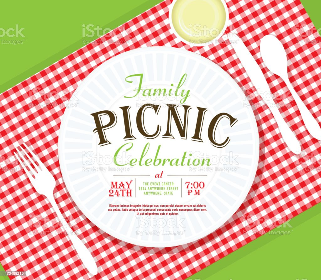 Picnic invitation design template angle placesetting vector art illustration