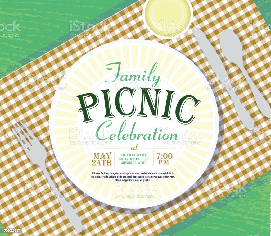 Picnic invitation design template brown check tablecloth vector art illustration