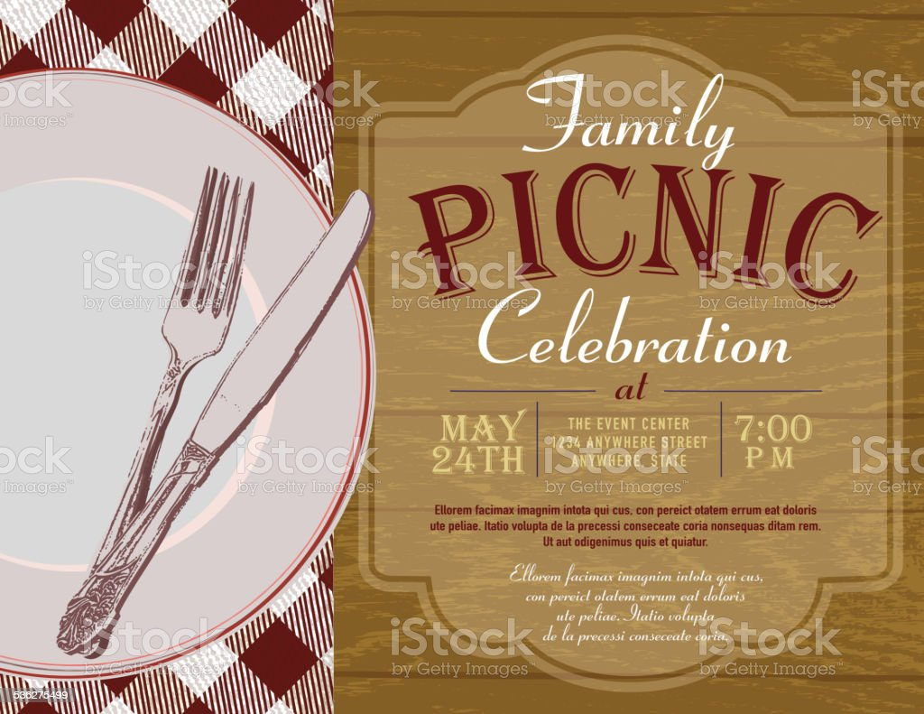 Picnic invitation design template brown check tablecloth vector art illustration