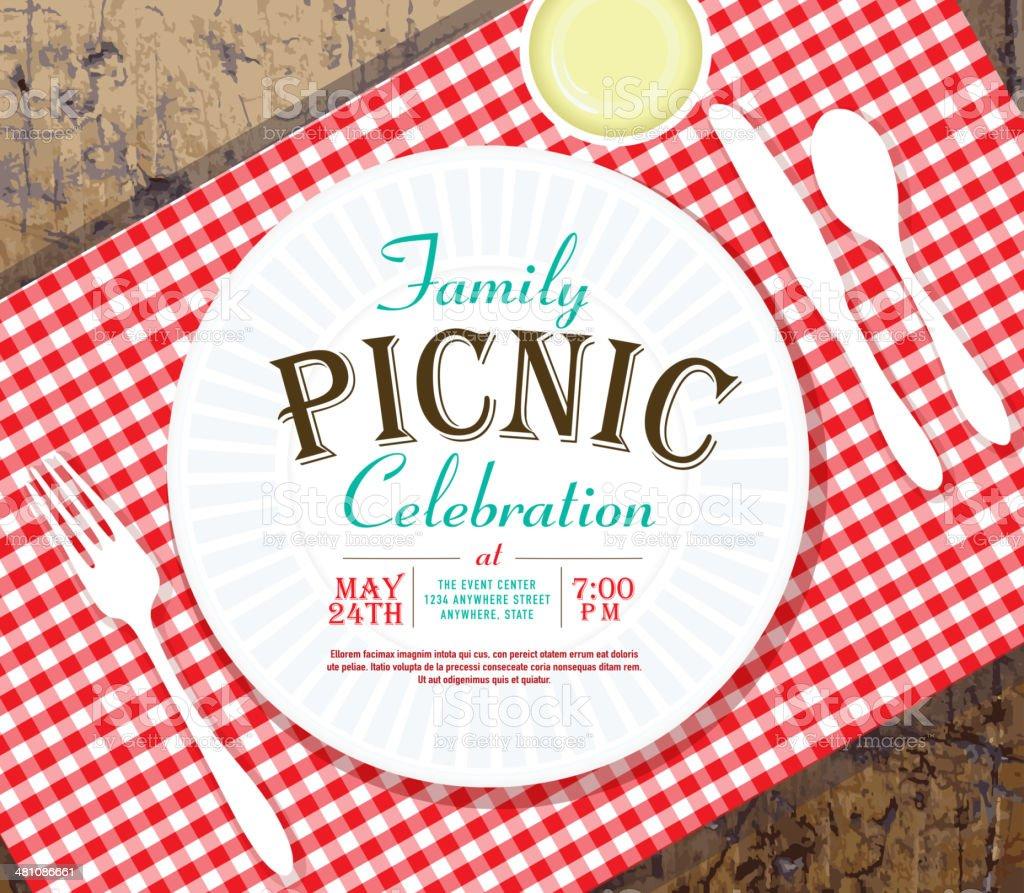 Picnic invitation design template on rustic wooden background vector art illustration