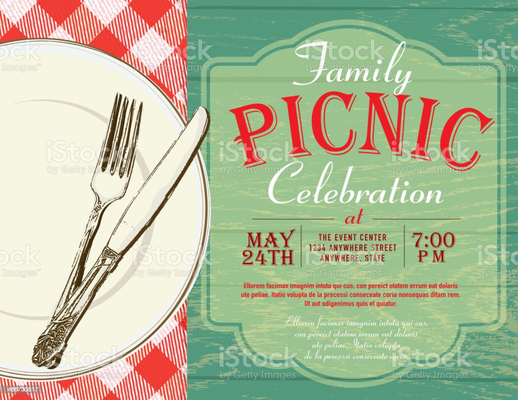 Picnic invitation design template royalty-free stock vector art