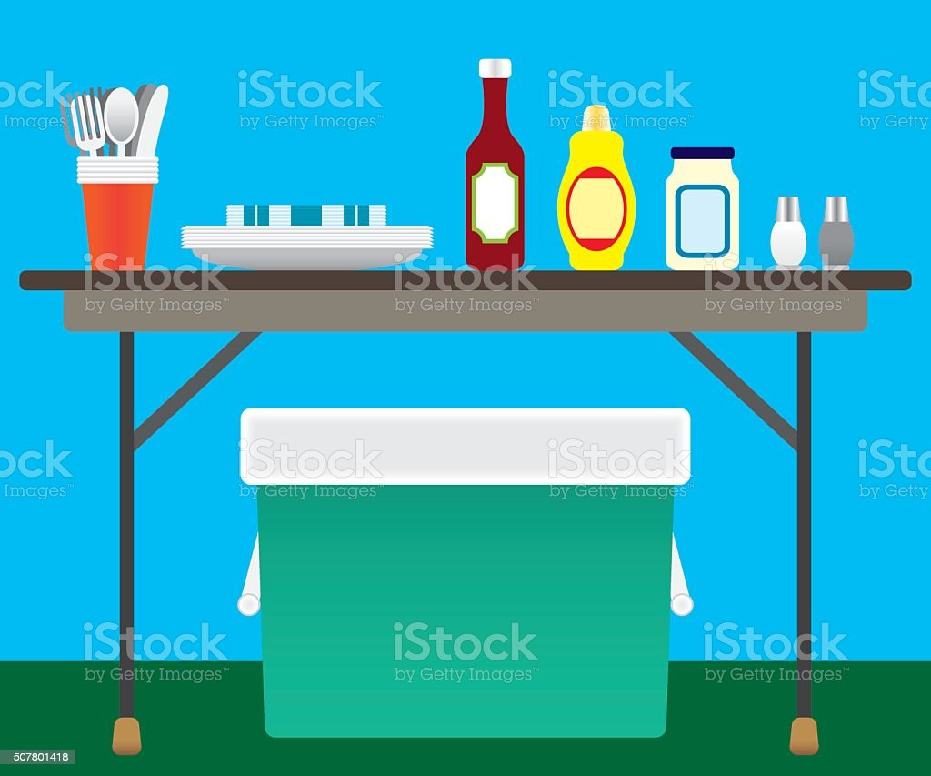 Picnic Items vector art illustration