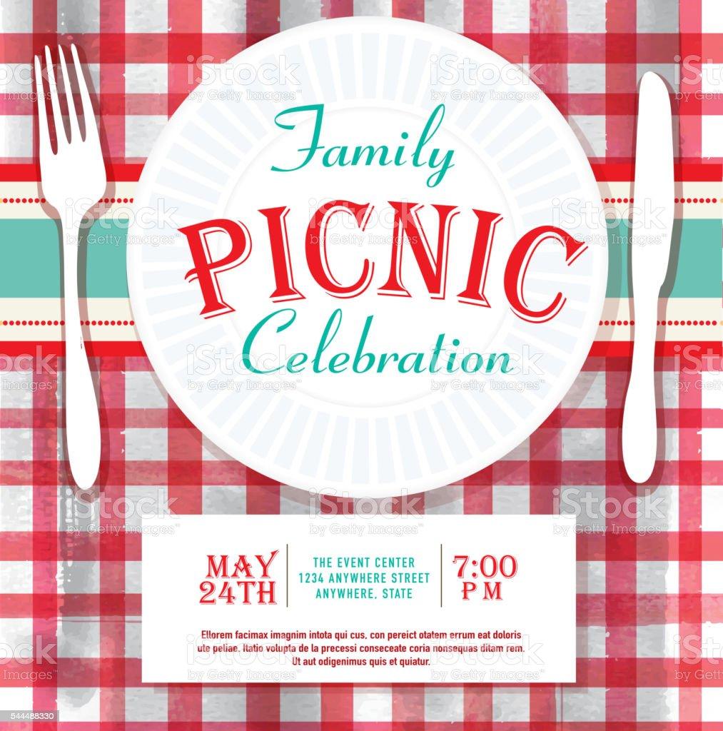 Picnic or barbecue family fun event invitation design template vector art illustration