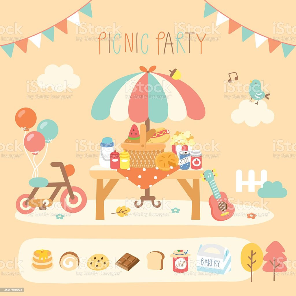 picnic party in the garden vector art illustration