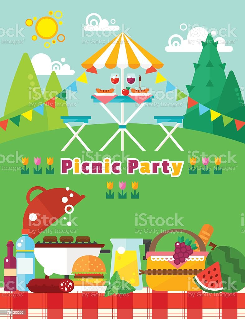 Picnic party landscape in flat style. Vector picnic elements collection vector art illustration