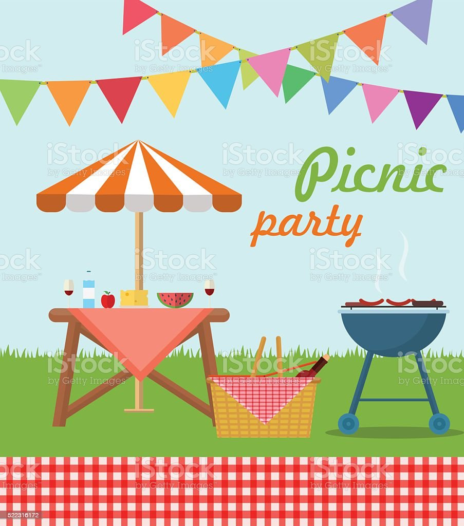 Picnic party poster vector art illustration