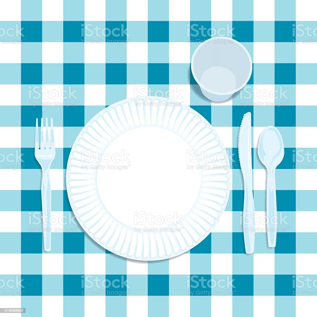 Picnic Place Setting Background vector art illustration