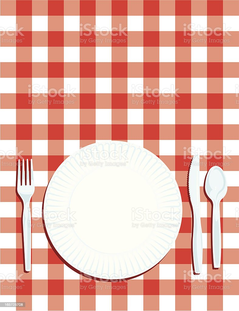 Table Setting Background picnic place setting with table cloth background stock vector art