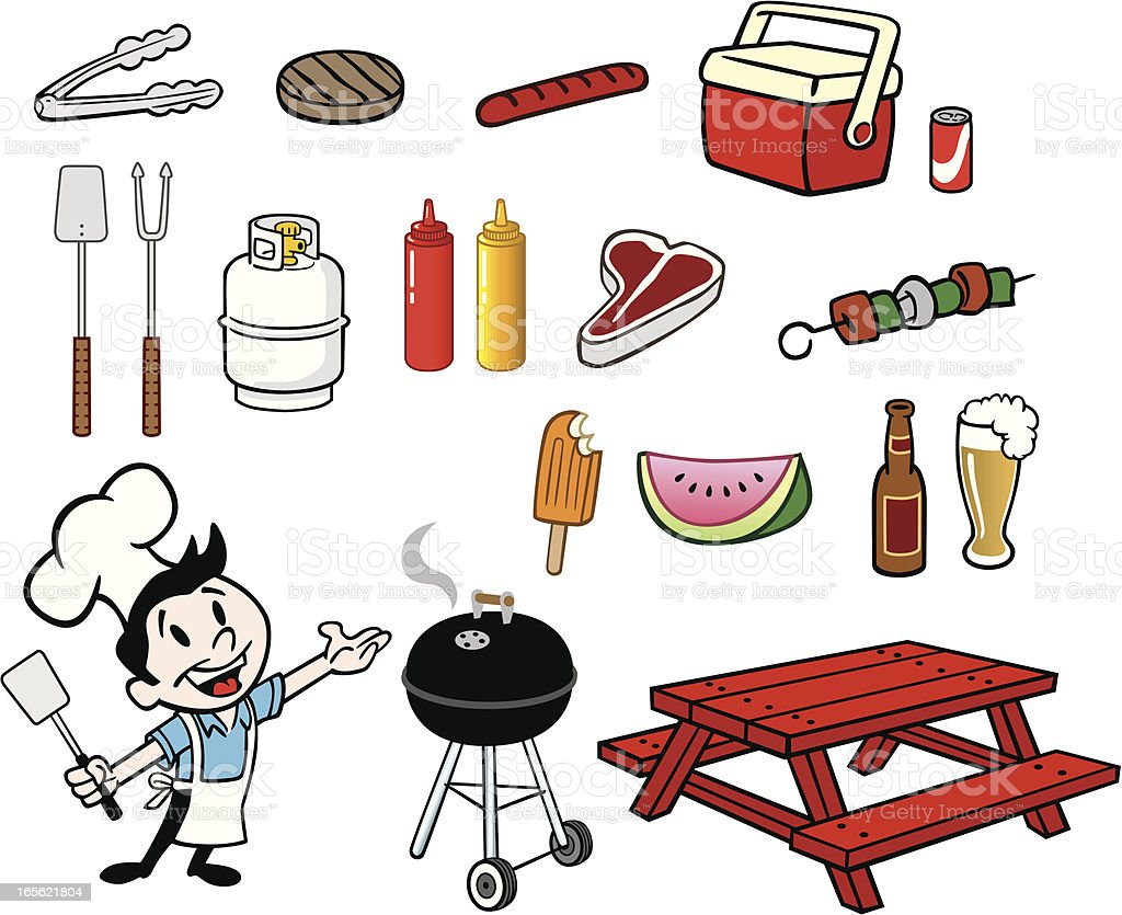 Picnic Stuff vector art illustration